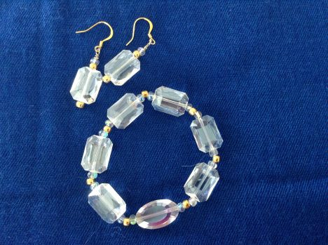 Crystal bracelet and earrings